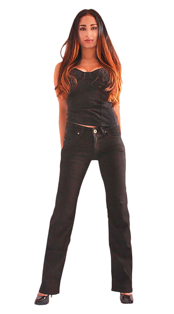Womens motorcycle jeans with armour - blue black 4