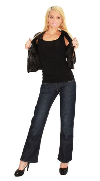 Womens motorcycle jeans with armour - blue black 2