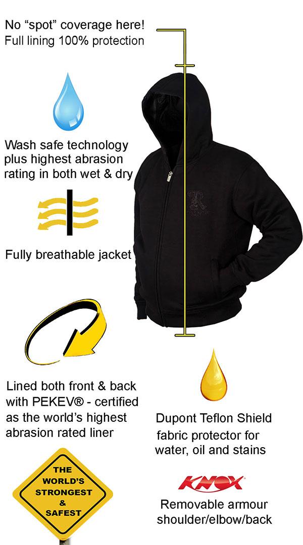 Motorcycle Armored Hoodie - Black - fully PEKEV® lined - Features