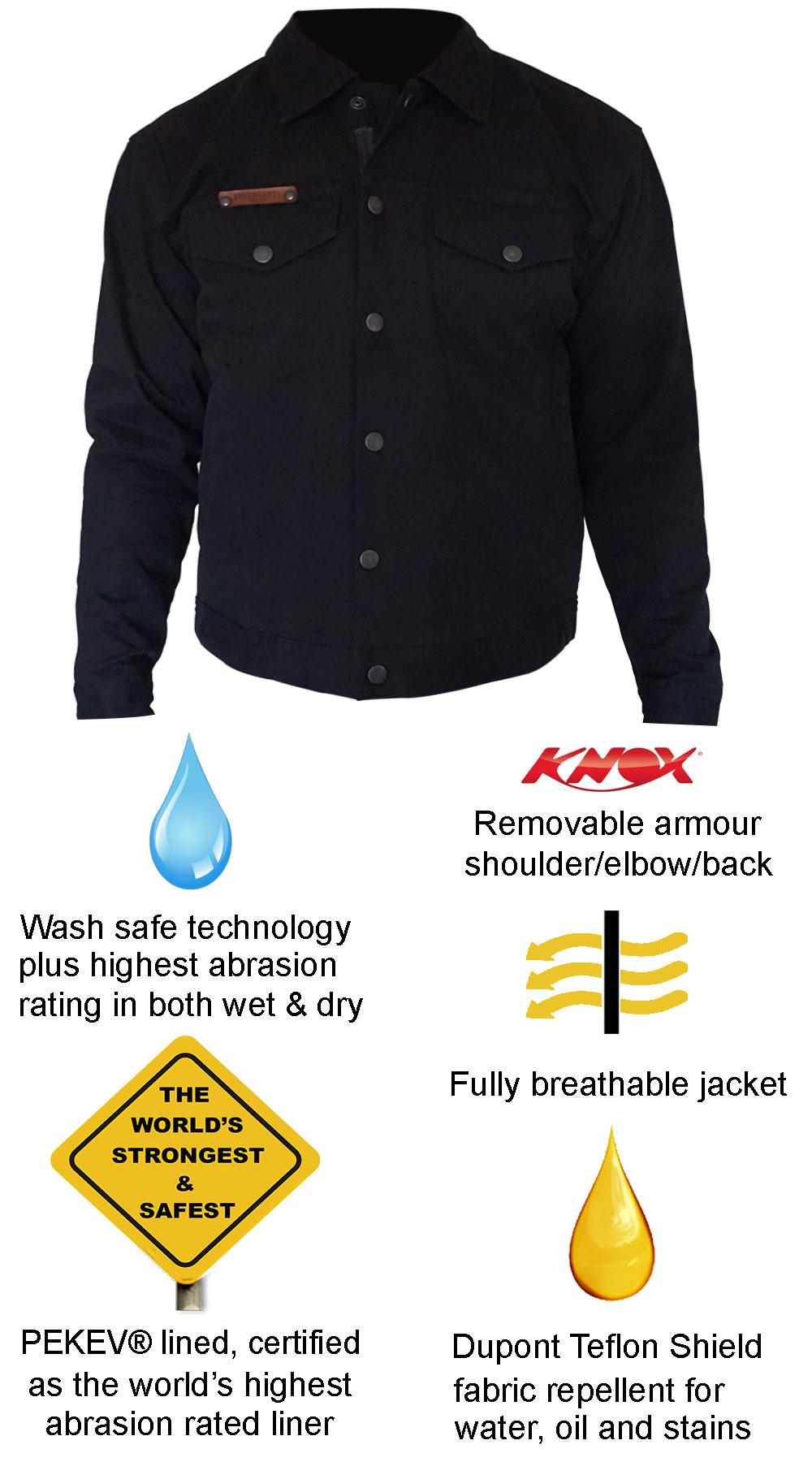 Denim motorcycle Jacket - Black - Features