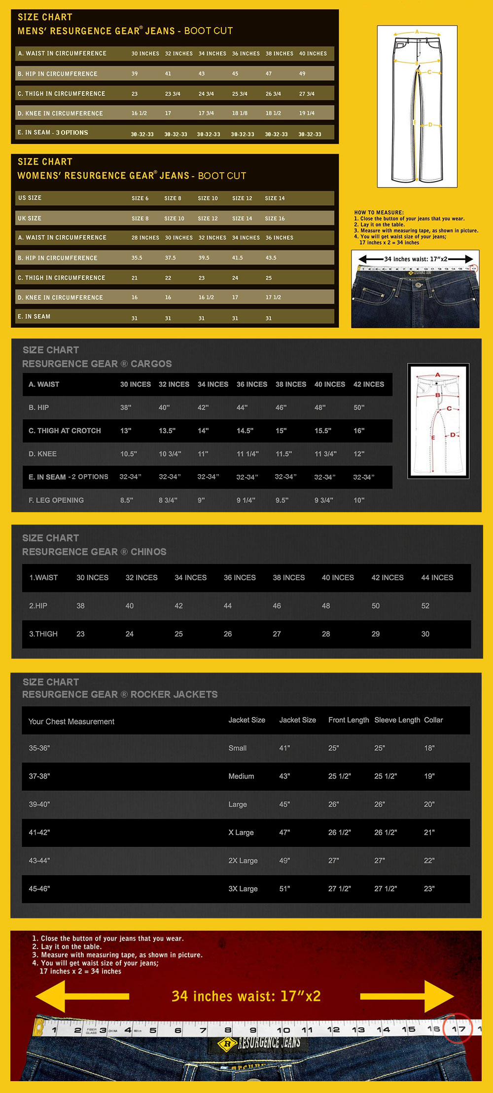 Resurgence Gear Motorcycle Clothing Size Chart - Jeans, Jackets, Hoodies & Pants - Australia