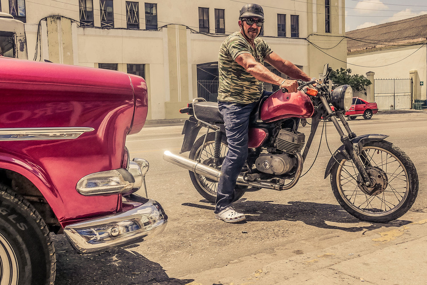 Cuban guy in Resurgence Gears, Pekev® Lite, Dark Blue motorcycle jeans Australia - Picture by Dean Saffron 2