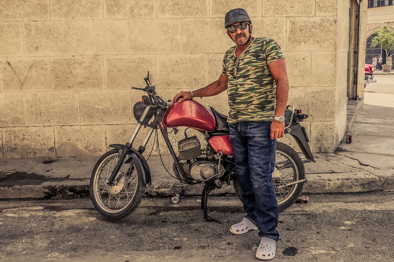 Cuban guy in Resurgence Gears, Pekev® Lite, Dark Blue motorcycle jeans Australia - Picture by Dean Saffron 3