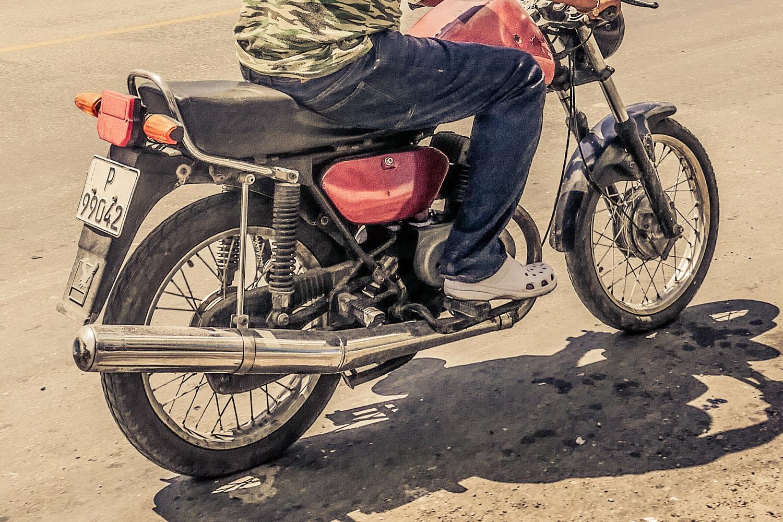 Cuban guy in Resurgence Gears, Pekev® Lite, Dark Blue motorcycle jeans Australia - Picture by Dean Saffron